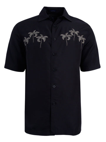 Men's Hawaiian Embroidery Shirt - Palm Trio