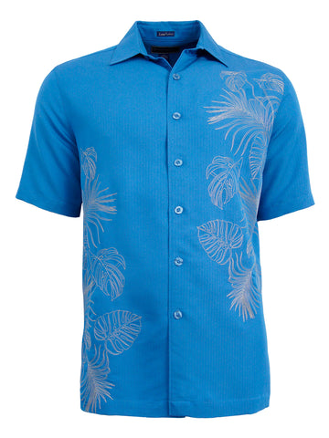 Men's Hawaiian Embroidery Shirt - Foliage