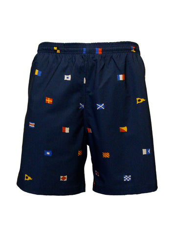 Men's Print Swim Trunk - Code Flags