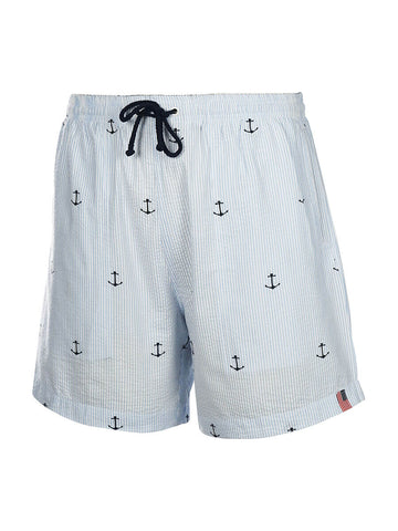 Men's Seersucker Embroidered Swim Trunk - Anchor