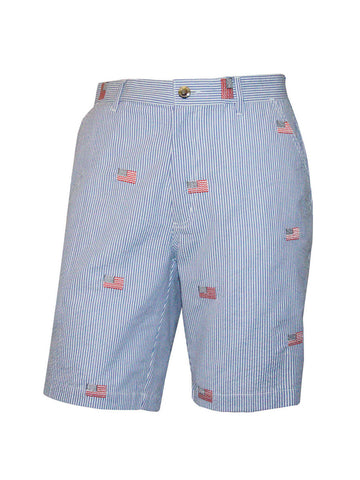 Men's Flat Front Seersucker Short - American Flag
