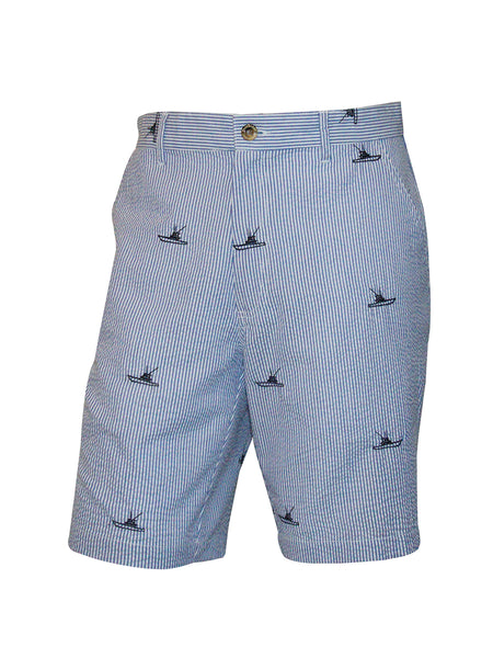 Men's Flat Front Seersucker Short - Yacht Haven