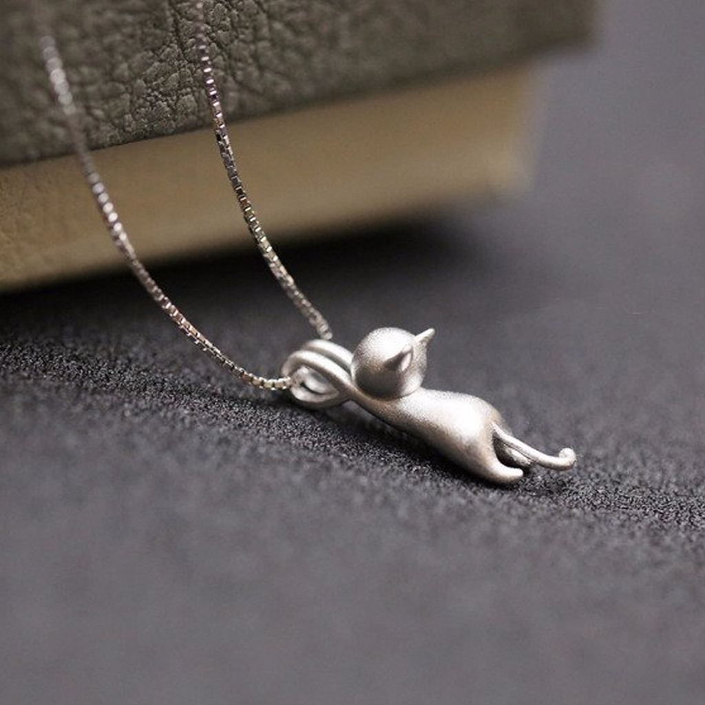 Sterling silver hanging catkitty pendant and necklace all the sterling silver hanging catkitty pendant and necklace allthecutestuff aloadofball Gallery
