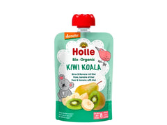 Holle Organic Pure Fruit Pouches - 6 Pack - Kiwi Koala with Pear, Banana and Kiwi