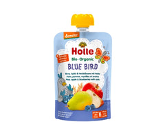 Holle Organic Pure Fruit Pouches - 6 Pack -Blue Bird with Pear, Apple, Blueberries and Oats