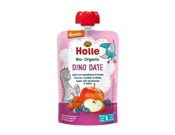 Holle Organic Pure Fruit Pouches - 6 Pack -Dino Date with Apple, Blueberries, and Dates