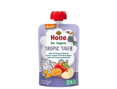 Holle Organic Pure Fruit Pouches - 6 Pack -Tropic Tiger with Apple, Mango, and Passion fruit
