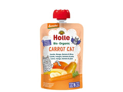 Holle Organic Pure Fruit Pouches - 6 Pack -Carrot Cat with Carrot, Mango, Banana & Pear
