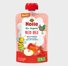 Holle Organic Pure Fruit Pouches - 6 Pack - Red Bee with Apple and Strawberry