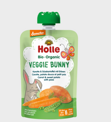 Holle Organic Pure Vegetables Pouches - 6 Pack - Veggie Bunny Carrot with sweet potatoes and peas