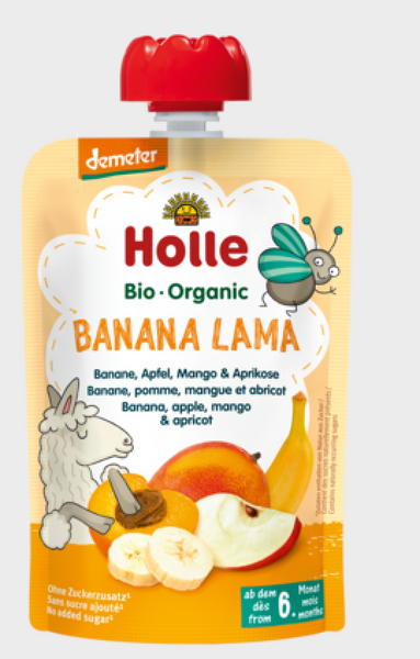 Holle Organic Pure Fruit Pouches - 6 Pack - Banana Lama with Apple, Banana, Mango and Apricot