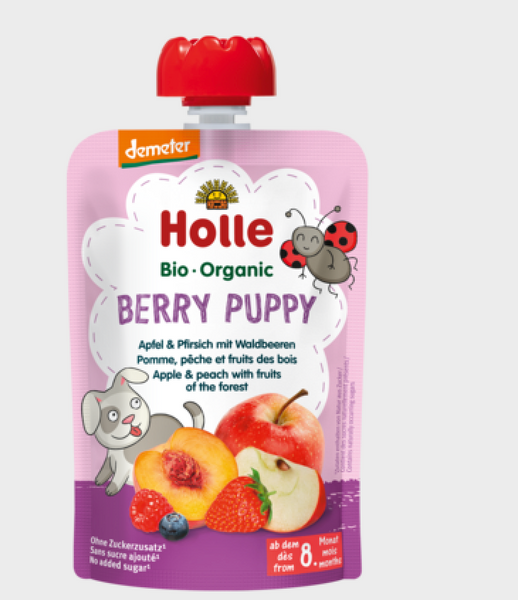 Holle Organic Pure Fruit Pouches - 6 Pack - Berry Puppy with Apple, Peach, and Forest Berries