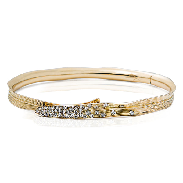 Palm Gold Bracelet - White Diamonds