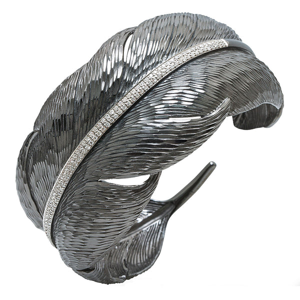 Feather Cuff - White Diamonds