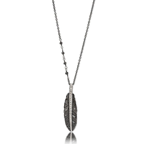 Feather Pendant Necklace - White Diamonds/Black Diamond Chain