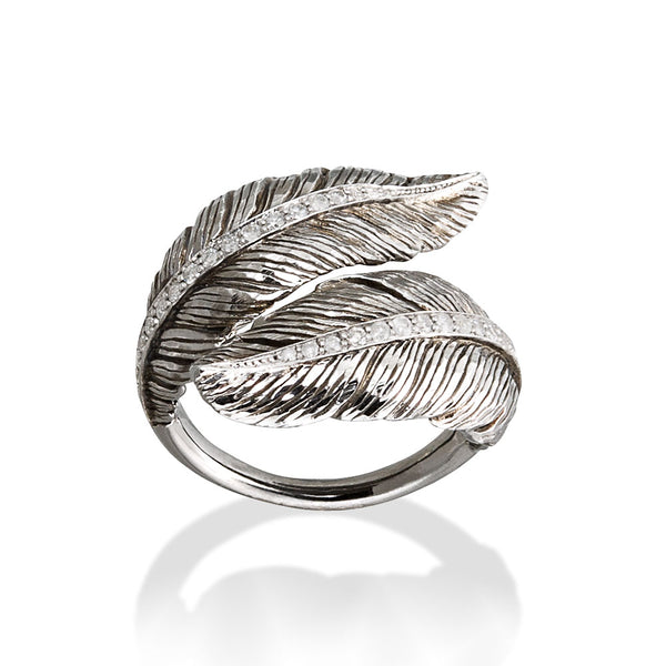 Feather Bypass Ring - White Diamonds