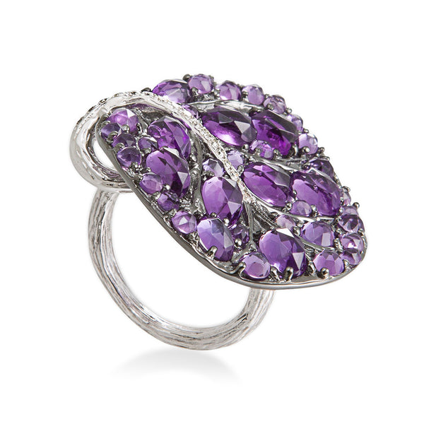 Botanical Leaf Ring - Amethyst