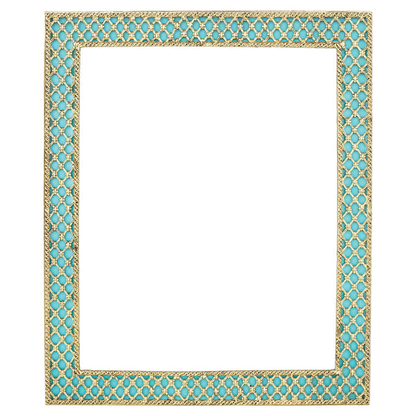 "TURQUOISE SUSIE 8"" x 10"" FRAME WITH GOLD SILK BACK"