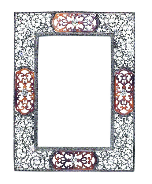 "QUEEN ANNE'S LACE 5"" x 7"" FRAME WITH DECORATIVE METAL BACK"