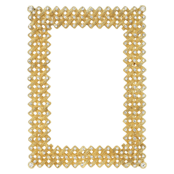 "GOLD LATTICE 4"" x 6"" FRAME WITH GREEN SILK BACK"