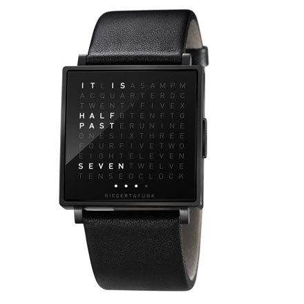 Qlocktwo Watch - Black/Black Steel