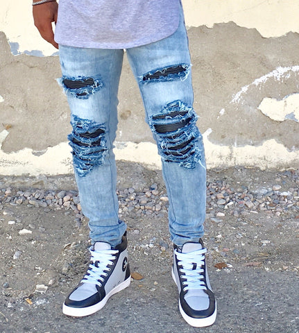 MotoRibbed Distressed Stretch Denim - DVCN Maison
