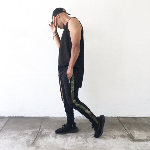 Camo Striped Black Track Pants - Camouflage - DVCN Maison