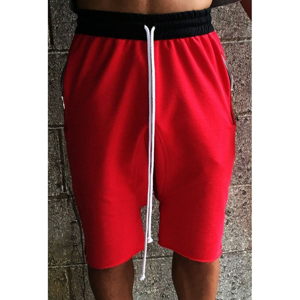 The French Terry Drawstring Short - Crimson Red - DVCN Maison