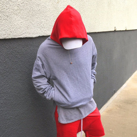 - The Red Hood - Heather Grey French Terry Cotton Hoodie - DVCN Maison
