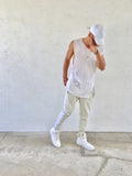 Khaki White Striped French Terry Ankle Zipper Track Pants - DVCN Maison