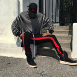 Black Double Red Striped Ankle Zipper Track Pants - DVCN Maison