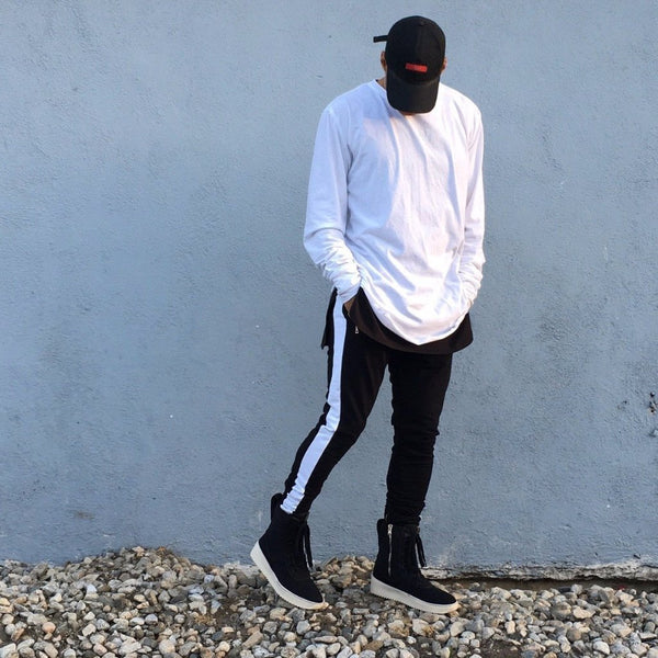 Black White Striped French Terry Ankle Zipper Track Pants - DVCN Maison