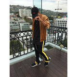 Black & Yellow Striped French Terry Ankle Zipper Track Pants - DVCN Maison