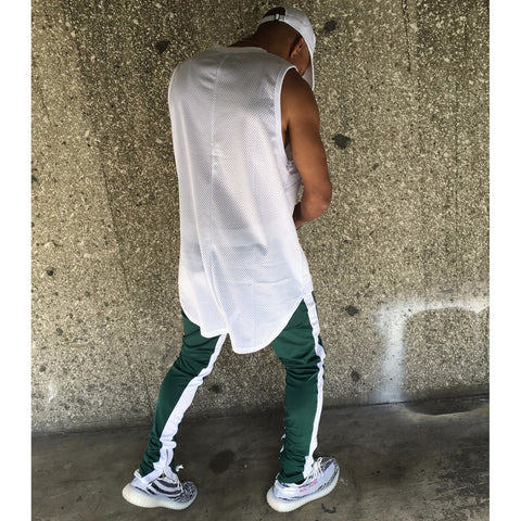 Lux Double Clover Track Pants - Boston Celtic Green w/ White Stripes - DVCN Maison