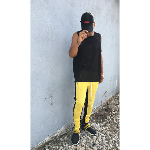 Lux Yellow Trackpants - Yellow w/ Black Stripes - DVCN Maison