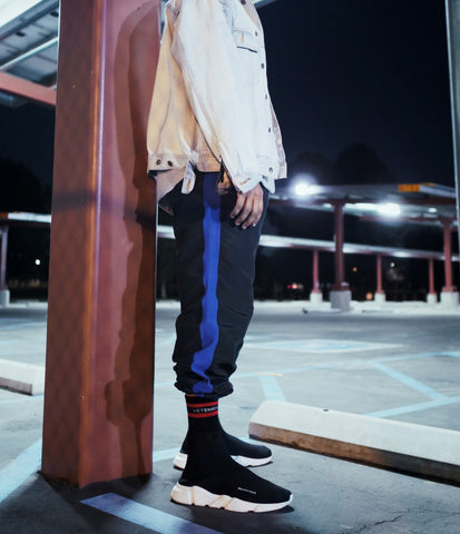 Black Parachute Track Pants with Blue Stripe - DVCN Maison