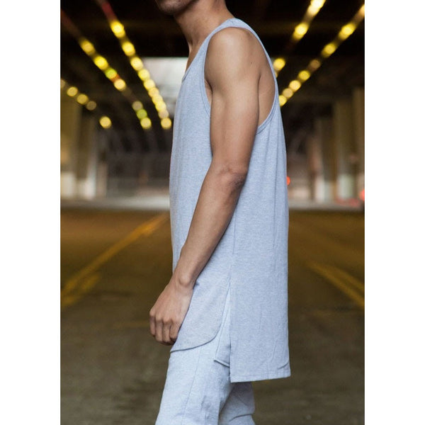The Longline Essential Tank Top - Heather Grey - DVCN Maison