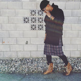 The Plaid Kilt - Dark Purple & Black Plaid - DVCN Maison