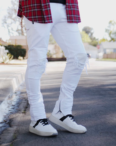 Moto Tech Joggers Ribbed Knees - White - DVCN Maison