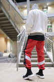 Retro Parachute Track Pants in Red / White / Black - DVCN Maison