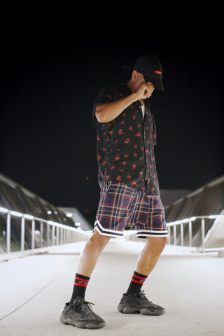 Navy Purpose Plaid Ball Shorts - DVCN Maison