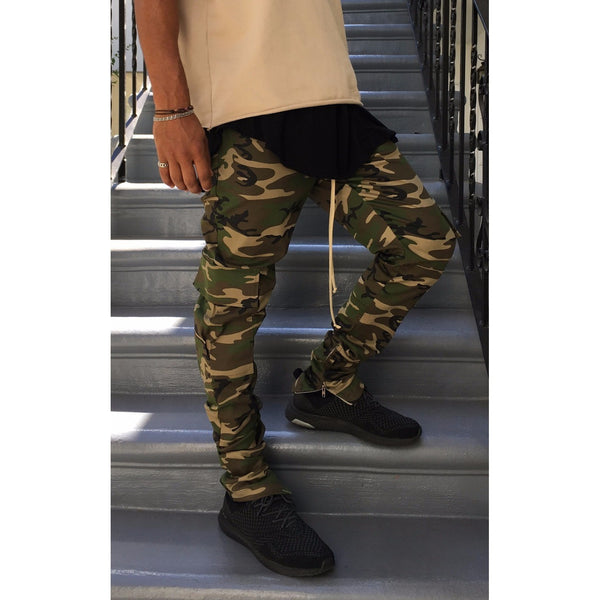 The Camo Drawstring Pants w/ Ankle Zippers - Camouflage - DVCN Maison