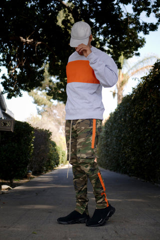 The Orange Blocked Crewneck Sweatshirt - Heather Grey - DVCN Maison