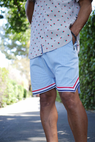 Carter Ball Shorts - Light Blue Pinstripe - DVCN Maison