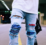 Hyper-Patch Distressed Stretch Denim - DVCN Maison