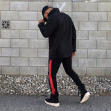 Black / Red Striped French Terry Ankle Zipper Track Pants - DVCN Maison