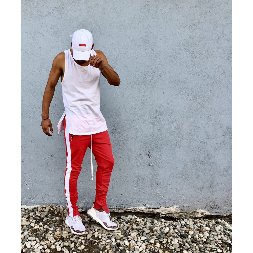 fast color good quality top style Scarlet Red / White Striped French Terry Ankle Zipper Track Pants