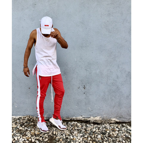 Scarlet Red / White Striped French Terry Ankle Zipper Track Pants - DVCN Maison