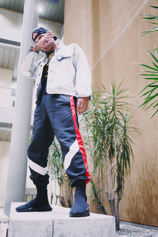 Retro Parachute Track Pants in Black / Red / White - DVCN Maison
