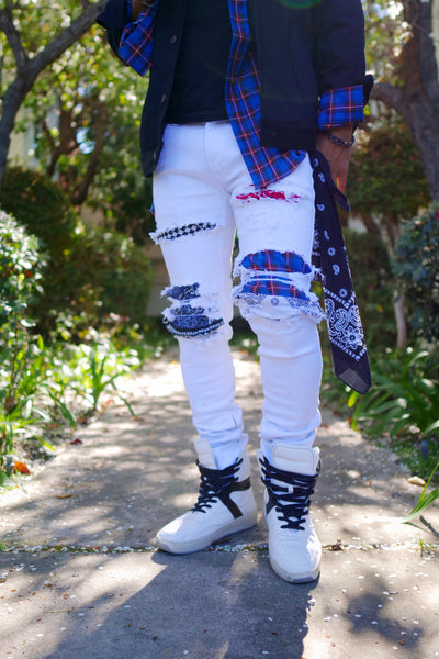 White Hyper-Patch Distressed Stretch Denim - DVCN Maison
